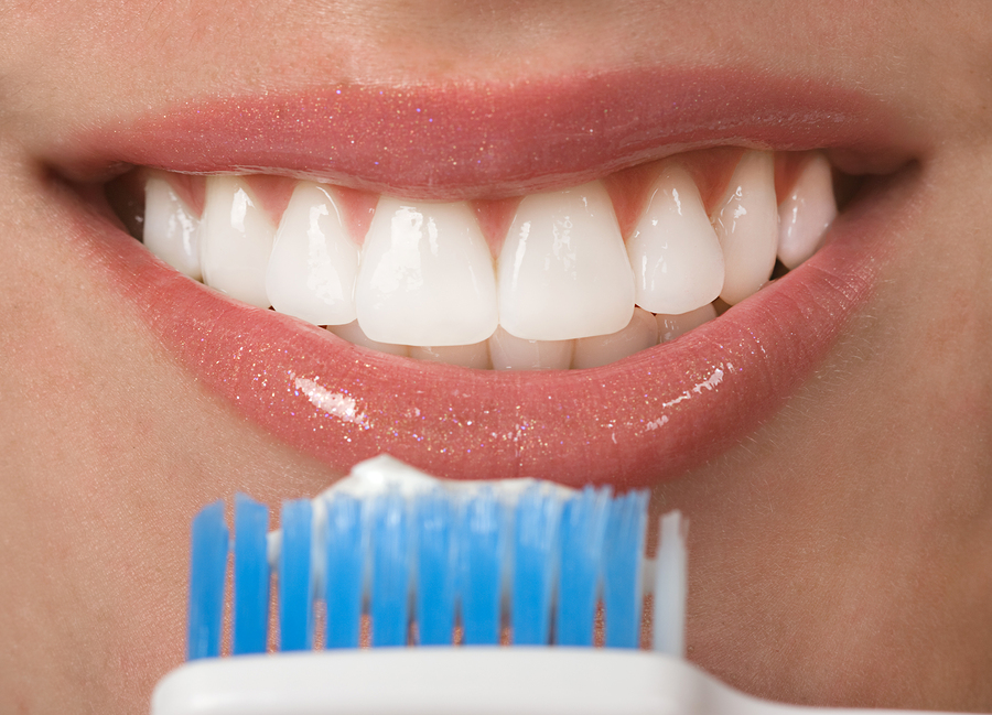 Healthy mouth with beautiful white teeth ( brushing teeth)